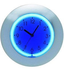 "Creative Motion 12"" 2-Color Neon Wall Clock with Chrome Frame"