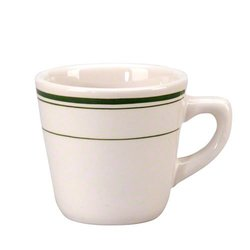 "Vertex China DMG-1 Del Mar Tall Cup, 3-1/4"", 7 oz., American White with Green Band (Pack of 36)"