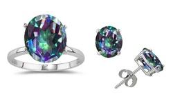 GemmaLuna 7CTTW Mystic Topaz Gemstone Ring & Earring Set - Multi - Size: 7
