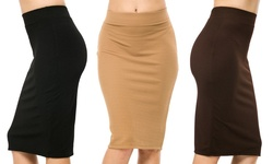 3 Pack Superline Women's Pencil Skirts w/ Back Slit - Blk/M/Brwn - Size: S