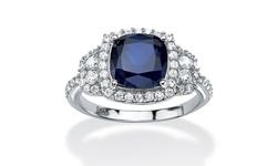 Palm Beach Jewelry 1.36 TCW Sapphire Halo Ring Platinum over Silver - Sz:5