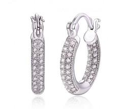 Sevil 18K Women's Swarovski Crystal Hoop Earrings - WG - Size: 20mm