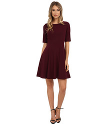 Tahari ASL Long Sleeve Round Neck Fit and Flare Dress - Wine - Size: 10