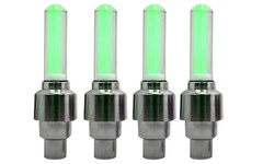 Energym 4 Pack of Lighted LED Car Tire Valve Caps - Green