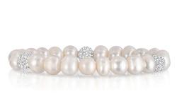 Handcrafted Jewellery Women's Freshwater Pearl Swarovski Crystal Bracelet