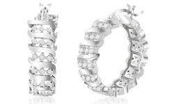 Sevil Women's Diamond Accent Tennis Hoop Earring - White gold