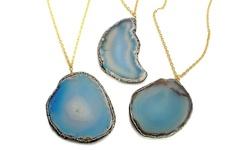 Dara Ettinger Women's Encrusted Oversized Geode Slice Necklace - Blue