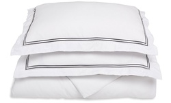 Luxor Microfiber 2 Line Embroidered Duvet Cover - White/Grey - Size: Twin