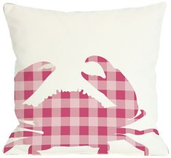 """Bentin Home Decor Plaid Crab Throw Pillow by OBC, 18""""x 18"""", White/Pink"""