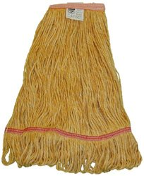 "Zephyr 26321 Blendup Orange Blended Natural and Synthetic Fibers Small Loop Mop Head with 1-1/4"" Narrow Headbands (Pack of 12)"