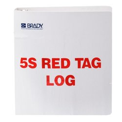 """Brady  122052 10"""" Height x 11"""" Width x 2"""" D, 10 inches   Polyethylene, Red on White 5S Red Tag Log Binder (1 Tag)"""