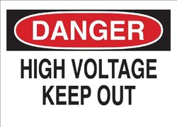 "Brady 78015 Corrugated Polypropylene Temporary Sign, 18"" X 24"", Legend ""High Voltage Keep Out"""