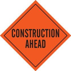 "Brady 56750 Reflective Vinyl Roll-Up Signs, 36"" X 36"", Legend ""Construction Ahead"""