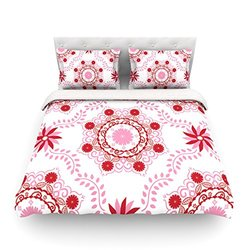 """Kess InHouse Anneline Sophia """"Let's Dance Red"""" Pink Floral King Cotton Duvet Cover, 104 by 88-Inch"""