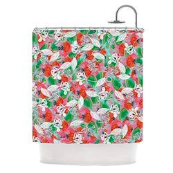"""Kess InHouse Akwaflorell """"Flying Tulips"""" Red Green Shower Curtain, 69 by 70-Inch"""