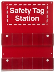 "Brady 10-Pocket Tag Safety Station, Legend ""Safety Tag Station"""