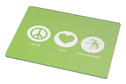 Rikki Knight Peace Love Hair Dresser Lime Green Color Large Glass Cutting Board