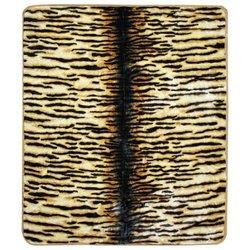 Clara Clark 85 by 95-Inch Micro Mink Animal Raschel Blanket, Queen, Tiger