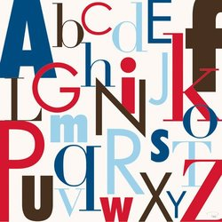 Oopsy Daisy Modern Letters, Red and Blue Stretched Canvas Wall Art by Patchi Cancado, 21 by 21-Inch