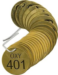 "Brady  87496 1 1/2"" Diameter, Stamped Brass Valve Tags, Numbers 401-425, Legend ""OXY"" (Pack of 25 Tags)"