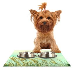 """Kess InHouse Robin Dickinson """"Explore"""" Quote Green Feeding Mat for Pet Bowl, 24 by 15-Inch"""