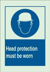 "Brady 90723 Glow-In-The-Dark Plastic Brady Glo Personal Protection Sign, 10"" X 14"", Legend ""Head Protection Must Be Worn (with Picto)"""