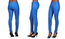 Junior Twist Belted Colored Skinny Royal Blue Jeans - Royal Blue - Size: 9
