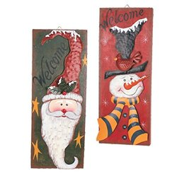 Attraction Design Metal Christmas Holiday Magic Snowman and Santa Winter Welcome Sign (Set of 2)