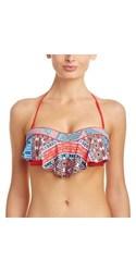 Red Carter Moroccan Tile Flounce Bandeau Bikini Top - Red Multi - Size: L