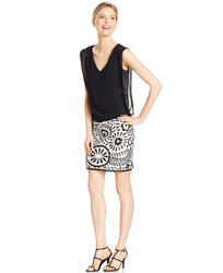J. Kara Women's Beaded Blouson Cocktail Dress - Black/Ivory - Size: 16