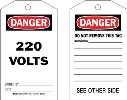 "Brady  86704 7"" Height x 4"" Width, Cardstock (B-853), Black/Red on White Accident Prevention Tags (100 Tags)"