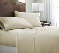 ienjoy Home 4 Piece Home Collection Premium Embossed Chevron Design Bed Sheet Set, Queen, Cream