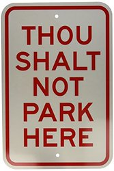 "Brady 115610 Parking Sign, Engineer Grade Aluminum, 18"" x 12"", Red/White"