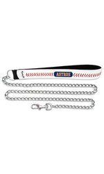 MLB Houston Astros Baseball Leather 3.5mm Pet Chain Leash - Size: Large