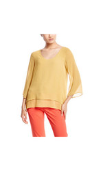 Milano Women's 3/4 Sleeve Layered Blouse - Bronze Gold - Size: M