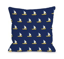 "Bentin Home Decor Whimsical All over Sailboat Throw Pillow by OBC, 16""x 16"", Navy/Yellow"