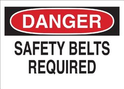 "Brady 41002 Aluminum, 10"" X 14"" Danger Sign Legend, ""Safety Belts Required"""