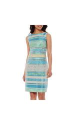 Chetta B Sleeveless Multi Stripe Sheath Dress - Aqua/Green - Size: 8