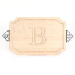 """BigWood """"B"""" Letter Cutting Board & Maple Wood Serving Tray"""