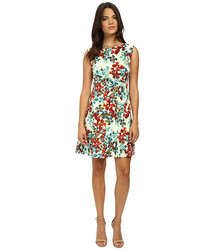 Tahari Arthur S Levine Floral Printed Dress - Teal/Rust - Size: 8