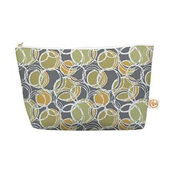"""Kess InHouse Everything Bag, Tapered Pouch, Julia Grifol """"Simple Circles in Grey"""", 8.5 x 4 Inches (JG1028AEP03)"""