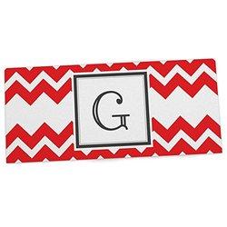 "KESS InHouse KESS Original ""Monogram Chevron Red Letter G"" Office Desk Mat, Blotter, Pad, Mousepad, 13 x 22-Inches"
