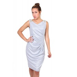 Alex Evenings Sleeveless Shoulder Detail Cocktail Dress - Silver - Size: 8