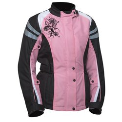 Bilt Connie Women's Waterproof Motorcycle Jacket - Pink/Black - Size: XL
