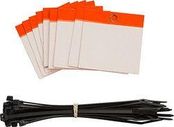 "Brady  102008 3"" Height x 3"" Width, Polyester, Orange Self-Laminating Blank Tags (25 Tags)"