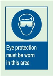 "10x14"" Legend Eye Protection Must Be Worn In This Area Glo Protection Sign"
