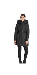 Kensie Women's Long Coat with Leather Trim - Black - Size: 10