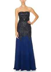 Suewong Strapless Lace Drop Waist Gown - Navy/Black - Size: 2