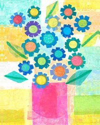 """Oopsy Daisy 24 x 30"""" Blue Flowers Pink Pot Stretched Canvas Art"""