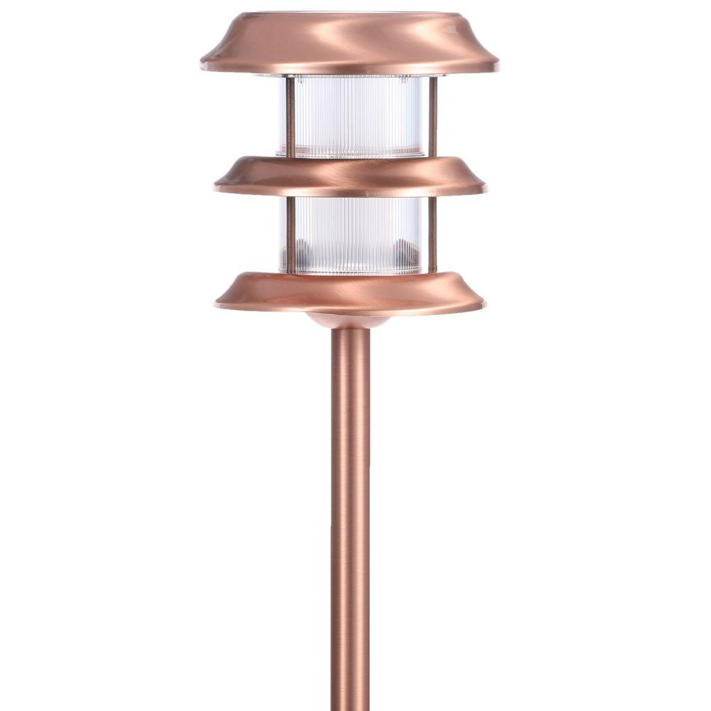 Hampton Bay Copper Outdoor Led Ground Stake Solar Light Pack Of 6 Check Back Soon Blinq